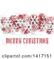 Clipart Of A Merry Christmas Greeting With Red And White Snowflakes And Shading On White Royalty Free Vector Illustration by Seamartini Graphics