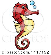 Clipart Of A Cartoon Red And Yellow Seahorse With Bubbles Royalty Free Vector Illustration by Seamartini Graphics
