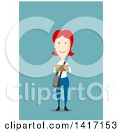Clipart Of A Flat Design Style Woman Reading A Book Royalty Free Vector Illustration by Seamartini Graphics