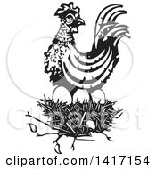 Clipart Of A Black And White Woodcut Hen On Top Of A Nest Royalty Free Vector Illustration