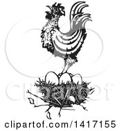 Clipart Of A Black And White Woodcut Rooster Crowing On Top Of A Nest Royalty Free Vector Illustration