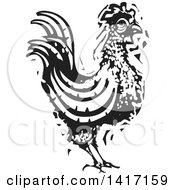 Clipart Of A Black And White Woodcut Rooster Royalty Free Vector Illustration