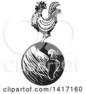 Clipart Of A Black And White Woodcut Rooster Crowing On Top Of Earth Royalty Free Vector Illustration