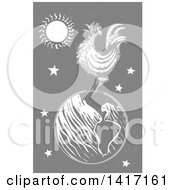 Clipart Of A Woodcut Rooster Crowing On Top Of Earth On Gray Royalty Free Vector Illustration