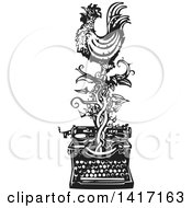 Black And White Woodcut Rooster Crowing On A Vine Over A Typewriter