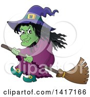 Clipart Of A Halloween Witch Flying On A Broom Stick Royalty Free Vector Illustration