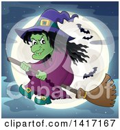 Clipart Of A Halloween Witch Flying On A Broom Stick Against A Full Moon With Bats Royalty Free Vector Illustration