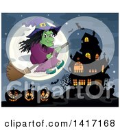 Clipart Of A Halloween Witch Flying On A Broom Stick Over Jackolanterns By A Haunted House Royalty Free Vector Illustration by visekart