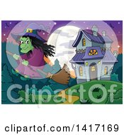 Clipart Of A Halloween Witch Flying On A Broom Stick Near A Haunted House Royalty Free Vector Illustration