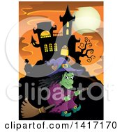 Clipart Of A Halloween Witch Flying On A Broom Stick Near A Haunted Castle Royalty Free Vector Illustration