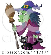 Clipart Of A Halloween Witch And Her Cat Royalty Free Vector Illustration by visekart