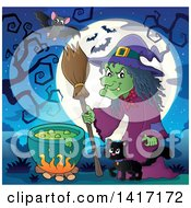 Halloween Witch And Her Cat Near A Cauldron