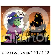 Clipart Of A Halloween Witch And Her Cat Near A Haunted House Royalty Free Vector Illustration by visekart