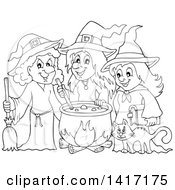Clipart Of A Black And White Lineart Group Of Halloween Witches Around A Cauldron Royalty Free Vector Illustration by visekart