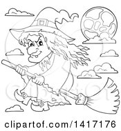 Clipart Of A Black And White Lineart Halloween Witch Flying On A Broom Stick Royalty Free Vector Illustration by visekart