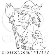 Black And White Lineart Halloween Witch And Cat