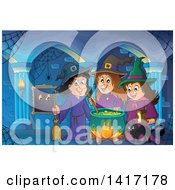 Clipart Of A Group Of Halloween Witches And A Cat Around A Cauldron In A Hallway Royalty Free Vector Illustration by visekart