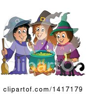 Group Of Halloween Witches And A Cat Around A Cauldron