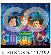 Group Of Halloween Witches And A Cat Around A Cauldron In The Woods