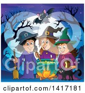 Group Of Halloween Witches And A Cat Around A Cauldron Against A Full Moon