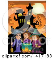 Group Of Halloween Witches And A Cat Around A Cauldron Near A Haunted Castle