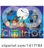 Group Of Halloween Witches And A Cat Around A Cauldron Near A Haunted House