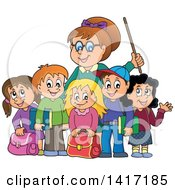 Clipart Of A Female Teacher And Her Students Royalty Free Vector Illustration