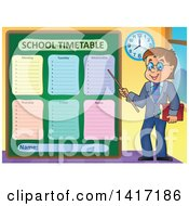 Male Teacher Presenting A School Timetable