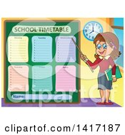 Clipart Of A Female Teacher Presenting A School Timetable Royalty Free Vector Illustration by visekart
