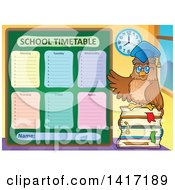 Clipart Of A Professor Owl Teacher With A School Timetable Royalty Free Vector Illustration by visekart