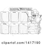 Clipart Of A Black And White Professor Owl Teacher And School Timetable Royalty Free Vector Illustration by visekart