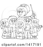 Clipart Of A Black And White Lineart Female Teacher And Her Students Royalty Free Vector Illustration by visekart