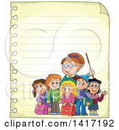 Female Teacher And Her Students On Ruled Paper