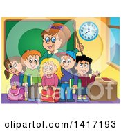 Clipart Of A Female Teacher And Her Students In A Class Room Royalty Free Vector Illustration by visekart