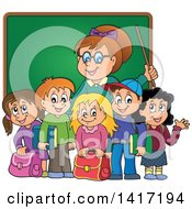 Clipart Of A Female Teacher And Her Students In Front Of A Chalk Board Royalty Free Vector Illustration by visekart