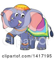 Clipart Of A Cute Indian Elephant Walking Royalty Free Vector Illustration