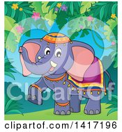 Clipart Of A Cute Indian Elephant Walking In A Jungle Royalty Free Vector Illustration by visekart