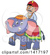 Clipart Of A Happy Indian Man Riding An Elephant Royalty Free Vector Illustration