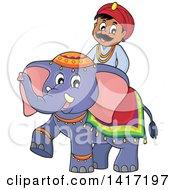 Happy Indian Man Riding An Elephant