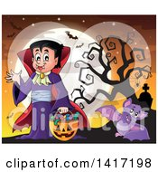 Clipart Of A Halloween Dracula Vampire Or Kid In A Costume With Bats Against A Full Moon Royalty Free Vector Illustration