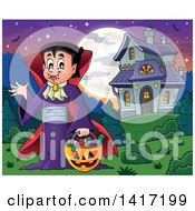 Clipart Of A Halloween Dracula Vampire Or Kid In A Costume Near A Haunted House Royalty Free Vector Illustration