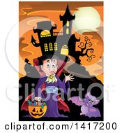 Halloween Dracula Vampire Or Kid In A Costume Near A Haunted Castle
