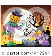 Clipart Of A Halloween Pumpkin Headed Jack Man And Bat In A Cemetery Royalty Free Vector Illustration
