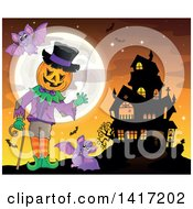 Clipart Of A Halloween Pumpkin Headed Jack Man Waving Near A Haunted House Royalty Free Vector Illustration by visekart