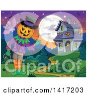 Clipart Of A Halloween Pumpkin Headed Jack Man Waving Near A Haunted House Royalty Free Vector Illustration