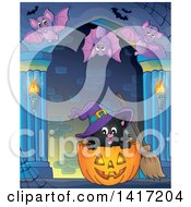 Clipart Of A Witch Cat In A Halloween Pumpkin And Bats In A Hallway Royalty Free Vector Illustration by visekart