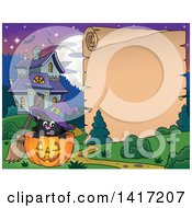 Clipart Of A Halloween Witch Cat In A Jackolantern Next To A Scroll Sign And Haunted House Royalty Free Vector Illustration by visekart