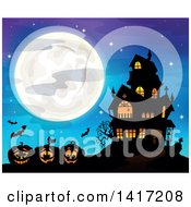 Clipart Of A Haunted House With Bats And Halloween Jackolantern Pumpkins Against A Full Moon Royalty Free Vector Illustration