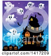 Clipart Of A Haunted House With Bats Ghosts And Halloween Jackolantern Pumpkins Royalty Free Vector Illustration