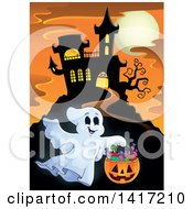 Clipart Of A Haunted Castle With A Trick Or Treating Ghost Royalty Free Vector Illustration